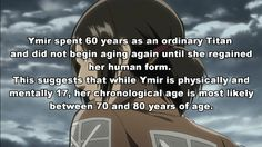 had no idea she was a titan. I didn't read the manga <<<I still need to catch up... I'VE MISSED SO MUCH<<<<I knew she was a Titan without the manga