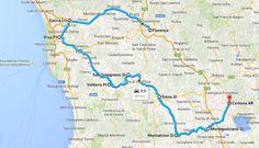 O mapa do roteiro, para que você tenha uma ideia: para não se perder nas estradinhas secundárias, use um GPS