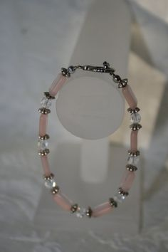 Light Pink Glass Rectangle Beads with Swarovski by TrinketsbyTeri, $22.00
