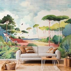 Paper Wallpaper, Watercolor Techniques, Home Interior Design, Vivid Colors, Bespoke, Mid-century Modern, Landscape, Architecture, Decoration