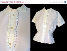 On Sale Vintage 40s Blouse Ivory Rayon by susiesboutiquecloths, $34.85