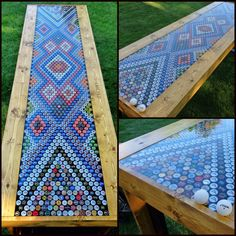 """This is a bottle cap game table made using 1519 bottle caps, 92 different beers, and 35 hours build time.  Process: 1. Frame- 2x4 base with pine siding and 4 layers of varnish. 1/4 inch sheet wood surface. Dimensions: 8'x28"""". 2. Caps arranged in design shown. 3. Each cap glued using construction glue to stop floating. 4. 3 gallons of liquid glass resin (epoxy). Poured on gallon at a time. 5. Blow torch surface lightly to pop bubbles 6. Wait 72 hours. 7. Playable surface."""