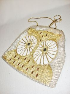 vintage beaded owl clutch purseevening bag with by Sassydoggs, $18.00