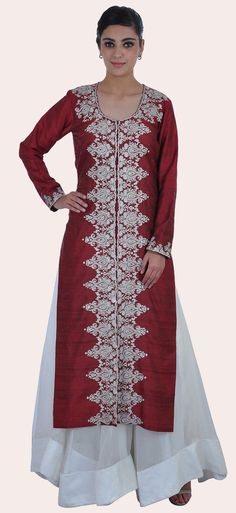 Tilla Embroidered Maroon Pure Raw Silk Jacket With Flared Skirt