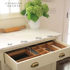"""JSH - Jenny Steffens Hobick on Instagram: """"Thanks @brookewagnerdesign for sharing my charging drawer - giving me motivation for actually getting it back in order so it looks this…"""" Hide Tv Wires, Hide Tv Cables, Hidden Tv, Metal Homes, Basement Remodeling, Bathroom Remodeling, Vinyl Siding, Wall Mounted Tv, Contemporary Bathrooms"""
