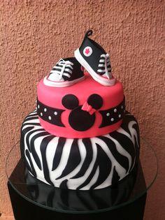 Birthday Girl Cake, converse girl shoes, Minnie Mouse cake, animal print cake