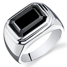 Revoni Mens 7.00 Carats Octagon Cut Black Onyx Ring In Sterling Silver With…
