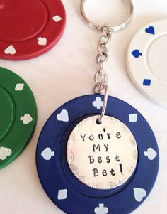 Personalized Lucky Poker Chip Keychain for Friend Husband Wedding Party with Your Special Message on Etsy, $18.00