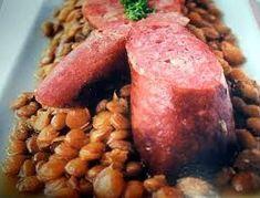 Lentils with Morteau Saussages Pork Ham, Sauce, Lentils, Beef, Food, Cooker Recipes, Cooking Food, Onion, Meat