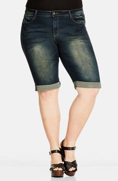 City Chic Dirty Knee Length Denim Shorts (Medium Denim) (Plus Size) available at #Nordstrom