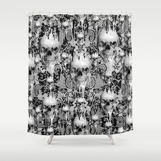 Victorian gothic lace skull pattern Shower Curtain by Kristy Patterson Design - $68.00