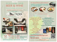 Sunday 3/22 - 4 Sundays from today - Join us our 14th Wine & Food Tasting Event - Featuring NUNO'S Bistro - Quinoa Salad, Piri Piri Wings - Nicki Minaj MYX Moscato, Claremont Jacaranda IPA - Tickets are available for purchase - online or give ve us a call at 909 257 8855 ‪#‎theorynaillounge‬ ‪#‎specialevent‬ ‪#‎foodtasting‬ ‪#‎beertasting‬ ‪#‎winetasting‬.