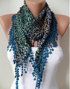 Leopard and Blue Scarf with Dark Blue Trim Edge by SwedishShop, $12.90