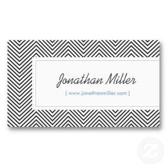 Black chevron pattern customizable business card for interior designers