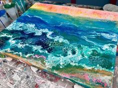 Acrylic Pour making of The Beach - YouTube