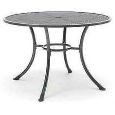 "Our 36"" round mesh top table with umbrella hole has a titanium iron gray finish with black feet. The electrotherm protective finish resists scratching peeling, fading, and chipping. This table has the ability to remain 30% cooler and warmer to the touch after long exposure. Order online at http://contractfurniture.com/product_detail.php?prodID=283 or call us 800.507.1785"