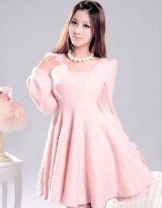 Long Sleeve Round Neck Plush Dress   $10.99
