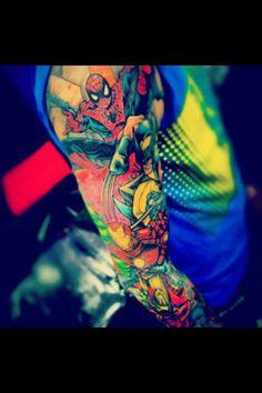 Spider-Man, Iron Man, & Wolverine tattoo Sleeve