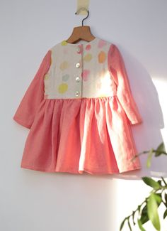Quilted one of a kind girls heirloom dress in Nani Iro dotty double gauze and watermelon pink linen by ZanziBach