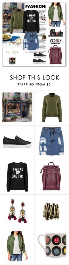 """Yoins Bomber"" by ludmyla-stoyan ❤ liked on Polyvore featuring WithChic, NARS Cosmetics, Ella Doran, bomberjacket, yoins and yoinscollection"
