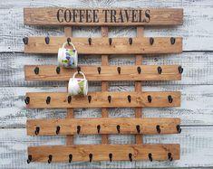 Starbucks Coffee cup holder, Been There Mug rack, 40 to 48 Hook coffee mug rack, Holds Starbucks You Are Here Mugs Coffee Mug Storage, Coffee Cup Rack, Coffee Mug Display, Coffee Mug Holder, White Coffee Mugs, Coffee Cups, Jacobean Stain, Wood Mug, Café Bar