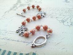 Peach Granite bracelet by Bijouterie21 on Etsy, £15.00
