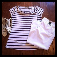 Selling this The Limited Dark Purple Striped Top on Poshmark! My username is: aprils03. #shopmycloset #poshmark #fashion #shopping #style #forsale #The Limited #Tops