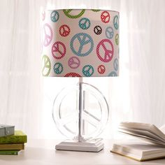PBteen peace sign lampshade and base