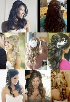 Half Up – Half Down. I like all of these except top row. Could do a style like this for the ceremony and pin up into an updo for the reception. My Hairstyle, Bride Hairstyles, Pretty Hairstyles, Hairstyle Photos, Bridesmaid Hairstyles, Hairstyle Ideas, Wedding Hair And Makeup, Bridal Hair, Hair Makeup