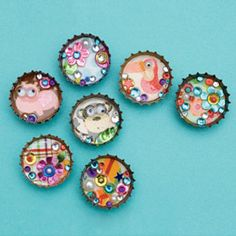 Recycled bottle cap magnets. I love how these are so easy to make and customize to your style. Easy for kids too!