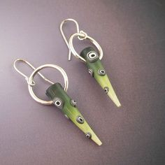 Green polymer and silver hoop point earrings by LizardsJewelry, $45.00