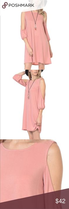Dusty Pink Cutout Dress Cutout Dress in Dusty Pink. New in Package with tags. Sizes small to extra large available. 35% Modal Bellino Clothing Dresses