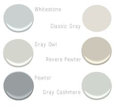 Possible Trim colours to accent BM Overcoat: Benjamin Moore Gray Owl, Pewter, Classic Gray, Revere Pewter & Gray Cashmere Benjamin Moore Grey Owl, Benjamin Moore Classic Gray, Revere Pewter Benjamin Moore, Benjamin Moore Paint, Revere Pewter Coordinating Colors, Neutral Paint Colors, Grey Paint, Interior Paint Colors For Living Room, Paint Colors For Home