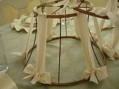 scraps of fabric tied onto vintage lamp shade frames!