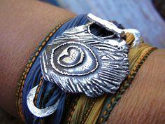 STERLING SILVER Jewelry, Sterling Silver Silk Wrap Bracelet, Hand Made Sterling Silver Toggle Bracelet, Purple, Blue, Yellow, Pink, Black