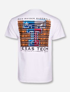 Texas Tech Red Raiders Baseball Bat on White T-Shirt