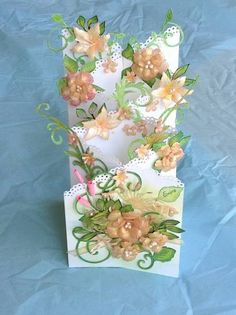 Double Cascade Card Open by - Cards and Paper Crafts at Splitcoaststampers-- make for Aunt NLike this pretty card idea. Tri Fold Cards, Fancy Fold Cards, Folded Cards, Cascading Card, Step Cards, Shaped Cards, Card Tutorials, Pop Up Cards, Creative Cards