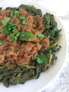 Garlicky Greens with Fried Onions - A traditional Lebanese appetizer that will be a crowd-pleaser!