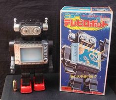 Vintage! Japanese Old New Electric TV Robot Horikawa Tin Toy Collector's Item