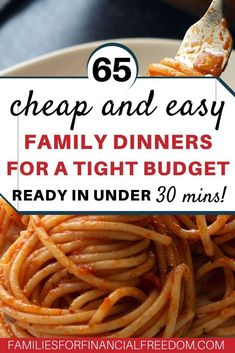 Get 65 easy and cheap recipes for tight budget! Great ideas for cheap dinner recipes! Quick and cheap dheap dinner recipes for chicken, pasta, and rice! Cheap recipes for one, for two, or for more! Cheap Family Meals, Easy Family Dinners, Cheap Dinners, Dinner Recipes Easy Quick, Quick Easy Meals, Recipes Dinner, Cheap Easy Meals, Inexpensive Meals, Dinner Entrees
