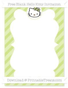 Free Pastel Lime Green Diagonal Striped Blank Hello Kitty Invitation