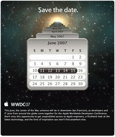 11/15 June 2007, WWDC 2007, Save the date.