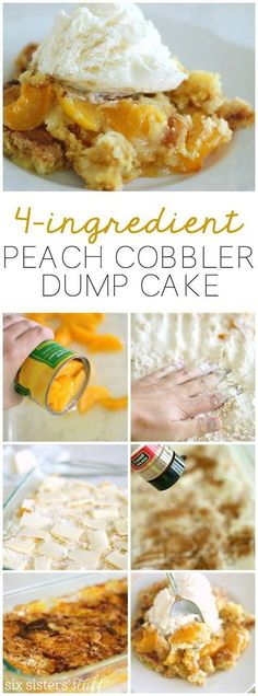 Delicious peach cobbler dump cake that only uses 4 ingredients! | SixSistersStuff.com. Add blueberries and nutmeg.