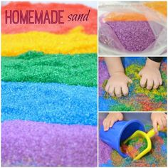 Make your own colored sand- so easy and so much cheaper than the store bought stuff!  Only 2 ingredients!