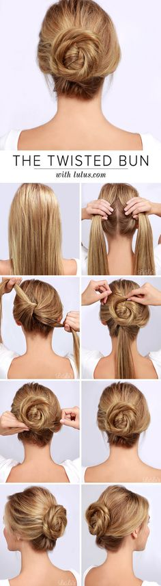This is an adorable spiral twisty bun that looks really easy to do. Its a great twist on the traditional bun!