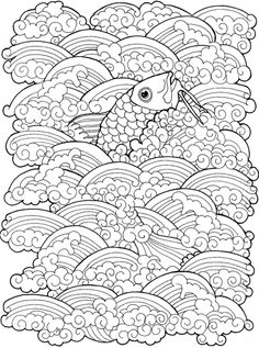 Coloring for adults - Kleuren voor volwassenen Animal Coloring Pages, Coloring Book Pages, Printable Coloring Pages, Coloring Sheets, Carpe Koi, Zentangle Patterns, Zentangles, Free Coloring, Line Drawing