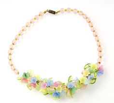 Art Deco Czech Hand Blown Glass Wired Flower Vintage Bead Necklace