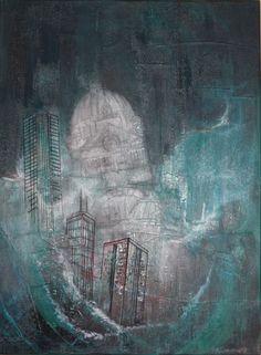 """Sea of Recall"" 40"" x 30"" © Karen Goetzinger thread and acrylic on stretched canvas www.karengoetzinger.com Mixed Media Artists, New Art, Artist At Work, Painting, Portrait Painting, Abstract, Karen, Textile Artists, Fiber Art"