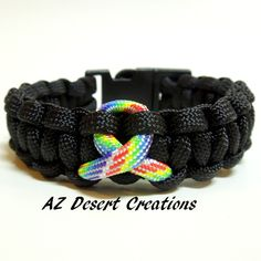 Autism Awareness Survival Paracord Bracelet Black with Autism Ribbon | DesertCreations - Jewelry on ArtFire