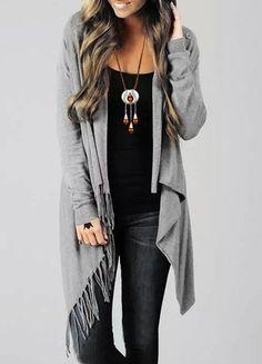 Stylish Collarless Long Sleeve Asymmetrical Fringed Cardigan For Women